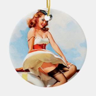 Sailor girl retro pinup ceramic ornament
