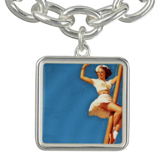 SAILOR GIRL RETRO PRINT CHARM BRACELET