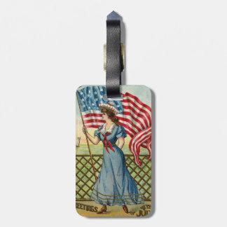 sailor girl - vintage nautical patriotic art bag tag