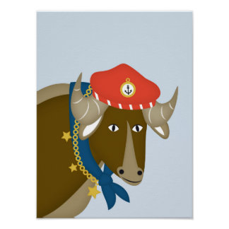 Sailor Gnu, Nautical Nursery Print