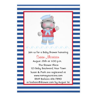 Sailor Hippo Boy Baby Shower Personalized Invitation