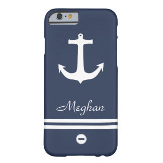 Sailor Inspired Navy & White Monogram with Anchor Barely There iPhone 6 Case