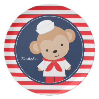 Sailor Monkey Personalized Plate