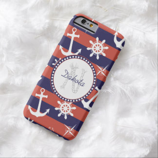 Sailor Nautical navy blue and red stripes monogram Barely There iPhone 6 Case