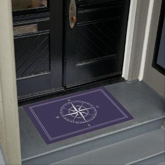 Sailor Navy Blue Ships Nautical Compass Doormat