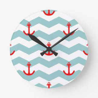 Sailor or nautical pattern on white and blue strip wallclocks