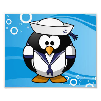 Sailor Penguin Water Background Photograph