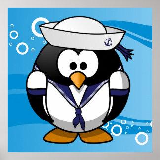 Sailor Penguin Water Background Poster