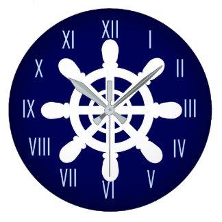 Sailor Wheel clock blue