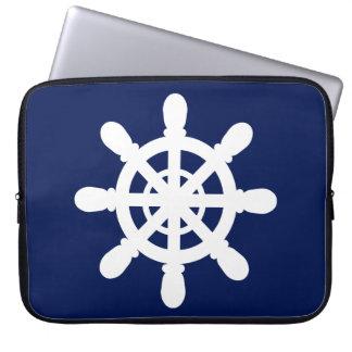 Sailor Wheel laptop sleeve blue