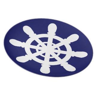 Sailor Wheel melamine plate blue