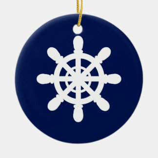 Sailor Wheel ornament blue