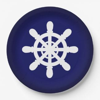 Sailor Wheel paper plate blue 9 Inch Paper Plate