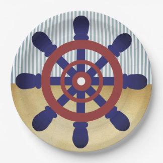 Sailor Wheel paper plate vintage 9 Inch Paper Plate