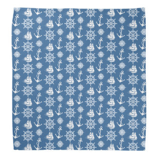 Sailor's Nautical Blue and White Pattern Bandana