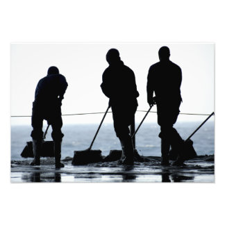 Sailors sweep out the hangar bay photo art