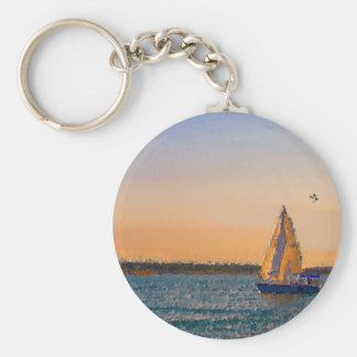 Sails In The Sunset Basic Round Button Keychain