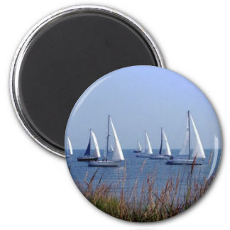 Sails on the Chesapeake 2 Inch Round Magnet