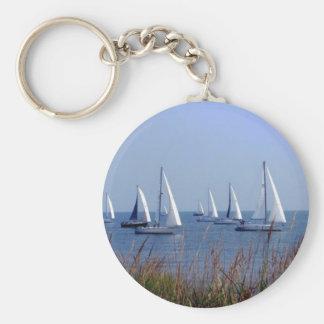 Sails on the Chesapeake Basic Round Button Keychain