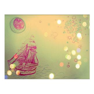 Sailship Under Circular Skies Postcard