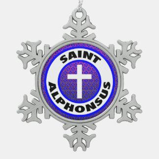 Saint Alphonsus Snowflake Pewter Christmas Ornament