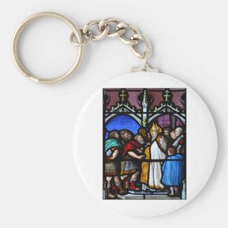 Saint Ambrose confronts Emperor Theodosius Basic Round Button Keychain