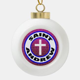 Saint Andrew Ceramic Ball Christmas Ornament