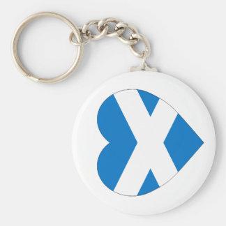 Saint Andrew Cross Flag Heart (Scotland) Basic Round Button Keychain