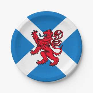 Saint Andrew's Cross Scottish Flag & Lion Rampant Paper Plate