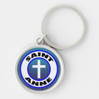 Saint Anne Silver-Colored Round Keychain