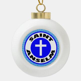 Saint Anselm Ceramic Ball Christmas Ornament
