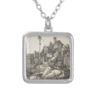 Saint Anthony Engraving by Albrecht Durer Silver Plated Necklace