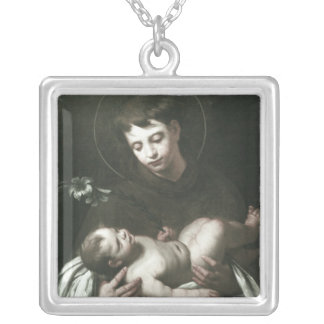 Saint Anthony of Padua Holding Baby Jesus Silver Plated Necklace