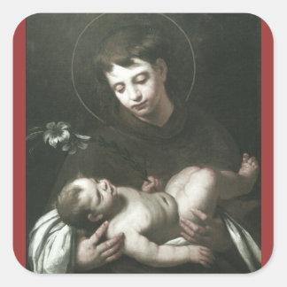 Saint Anthony of Padua Holding Baby Jesus Square Sticker