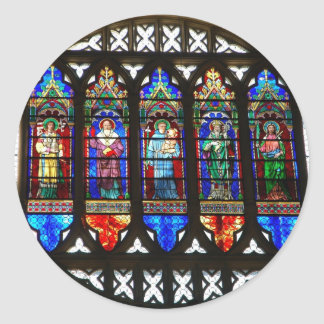 Saint Anthony stained glass windows Round Sticker