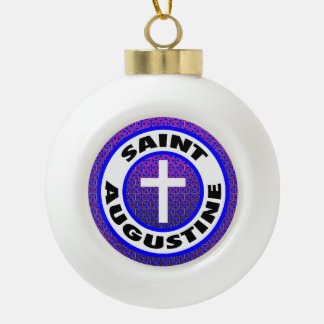 Saint Augustine Ceramic Ball Christmas Ornament
