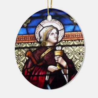 Saint Barbara Stained Glass Window Ceramic Ornament