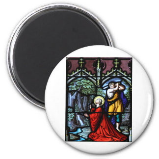 Saint Barbara's Martyrdom Stained Glass Art Magnet