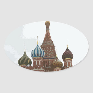 Saint Basil's cathedral_russo Oval Sticker