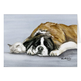 """Saint Bernard and Kitten"" Dog Art Notecard"