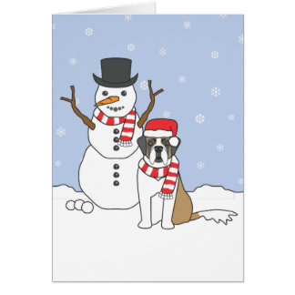 Saint Bernard and Snowman Card