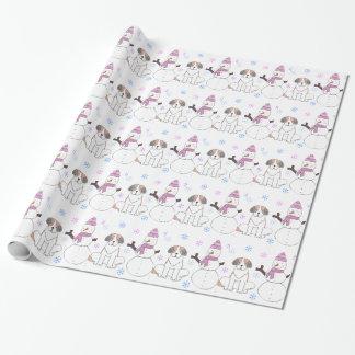 Saint Bernard And Snowman Wrapping Paper