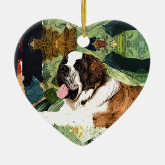 Saint Bernard Dog Ceramic Heart Ornament