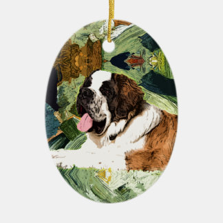 Saint Bernard Dog Ceramic Oval Ornament