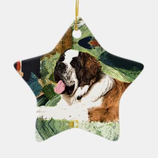 Saint Bernard Dog Ceramic Star Ornament