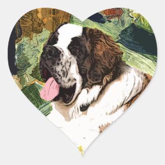 Saint Bernard Dog Heart Sticker