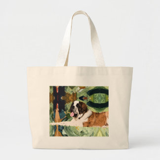 Saint Bernard Dog Large Tote Bag