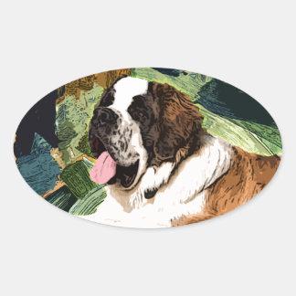 Saint Bernard Dog Oval Sticker