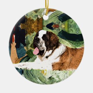 Saint Bernard Dog Round Ceramic Ornament