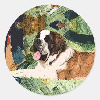 Saint Bernard Dog Round Sticker